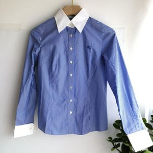 Burberry 博柏利YF04005蓝条纹白领长袖衬衫