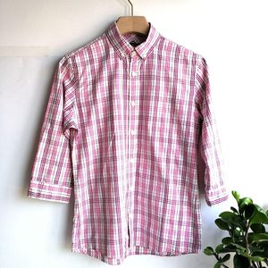 Burberry 博柏利YF04017粉细格纹七分袖衬衫