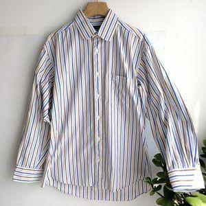 Burberry 博柏利YF04004蓝棕条纹长袖衬衫
