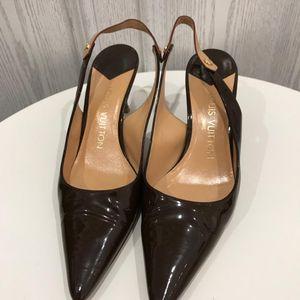 Louis Vuitton 路易·威登漆皮拼树羔皮凉鞋