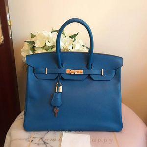 Hermès 爱马仕松石蓝birkin35手提包