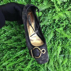 Louis Vuitton 路易·威登黑灰色老花牛仔布中跟鞋
