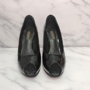 Louis Vuitton 路易·威登漆皮黑色鱼嘴防水台高跟鞋