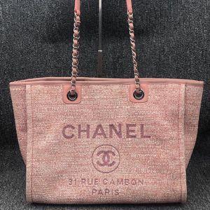 CHANEL 香奈儿女士粉色手提单肩包