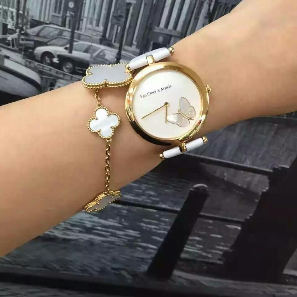 VCA梵克雅宝黄金蝴蝶系列18K金白色贝母女士石英腕表