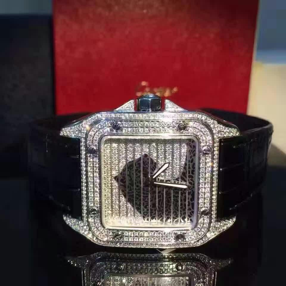 Cartier卡地亚桑托斯豹头满天星机械腕表