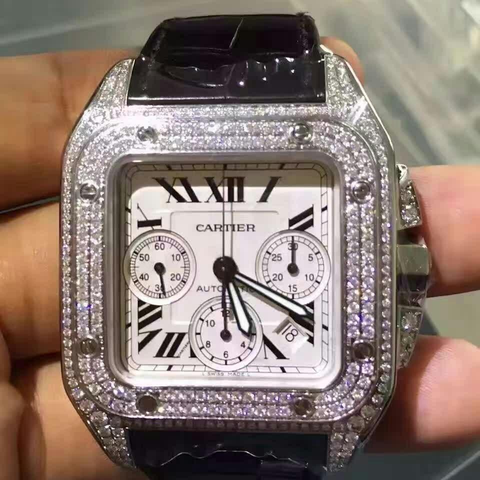 Cartier卡地亚山度士大号桑托斯钻石机械腕表