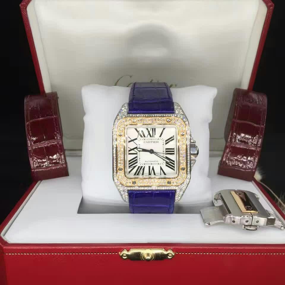 Cartier卡地亚桑托斯系列后镶钻石自动机械腕表