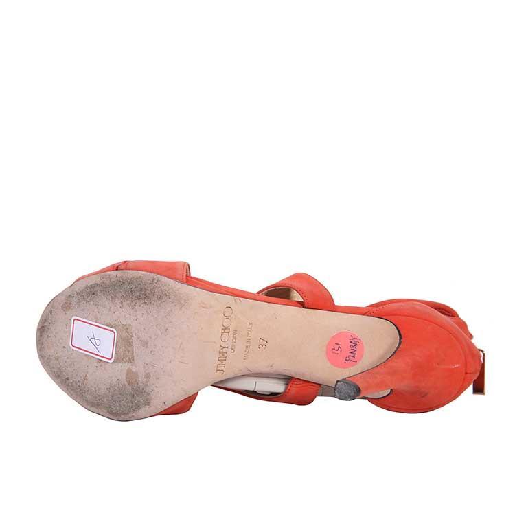 Jimmy Choo周仰杰桔粉色高跟鞋