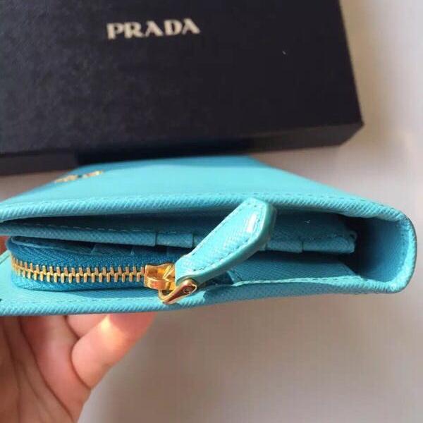 PRADA普拉达蓝色钱包