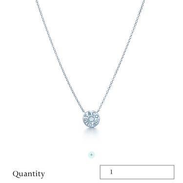 Tiffany蒂芙尼1837系列18k白金带钻项链