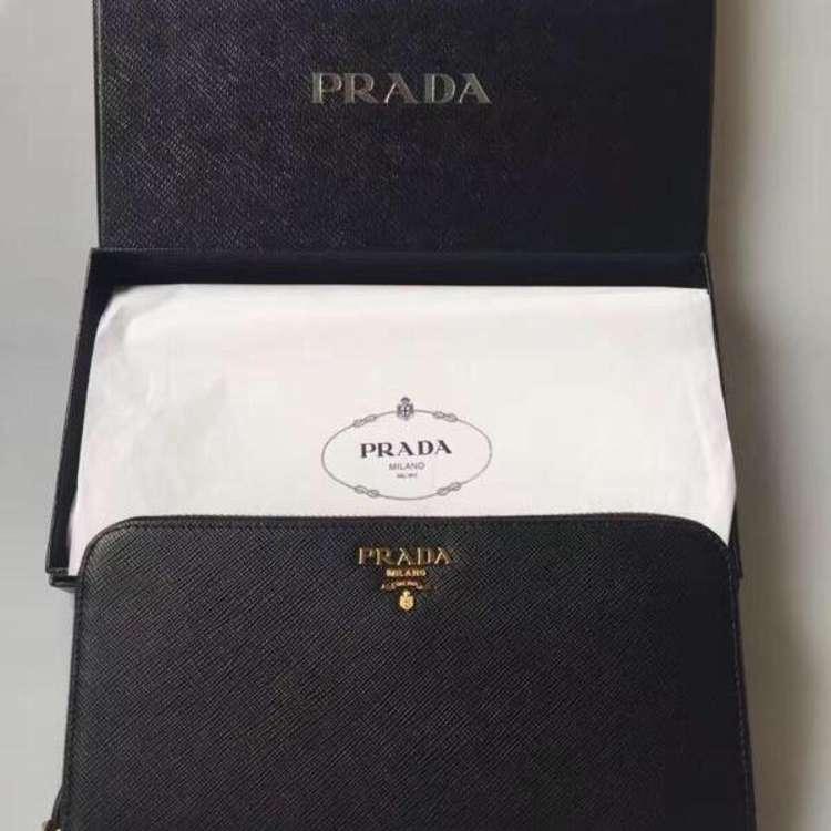 PRADA普拉达黑色十字纹牛皮手包