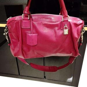 Loewe罗意威玫红色羊皮手提包