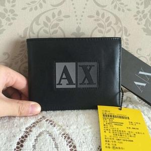 Armani Exchange黑色牛皮钱包