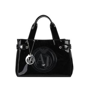 Armani Jeans 阿玛尼黑色漆皮手提包