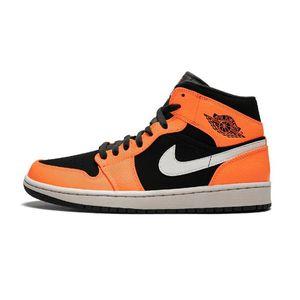 Air Jordan 1 Mid 乔丹AJ1小扣碎黑橙中帮篮球鞋