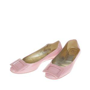 Roger Vivier 罗杰·维维亚漆皮粉色女士平跟鞋