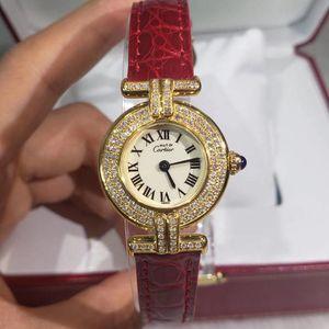 Cartier 卡地亚小旋风系列925银包金后镶钻石英女表
