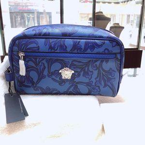 Versace 范思哲男士蓝色皮革手包