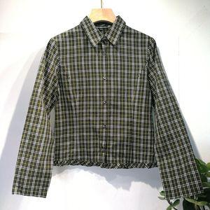 Burberry 博柏利YF04045经典绿格纹100%高档棉长袖衬衫
