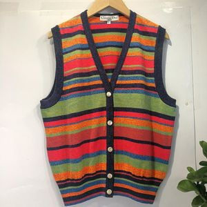 Dior 迪奥YF04051高端条纹金扣针织背心针织衫