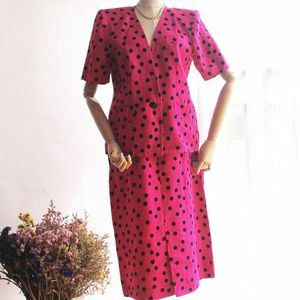 GIVENCHY 纪梵希YF04070玫红波点复古60s天然亚麻套装裙