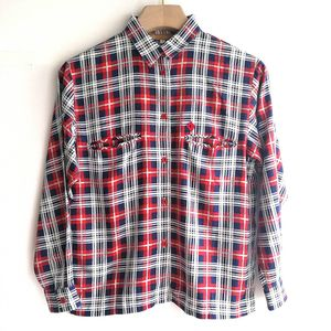 Dior 迪奥YF04072英伦风红白蓝格纹长袖羊毛衬衫