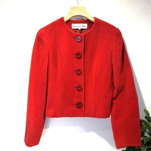 Dior 迪奥YF04062温暖红色100%高端羊毛短款毛毛呢上衣外套