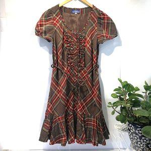 Burberry 博柏利YF04033经典格纹羊毛短袖连衣裙