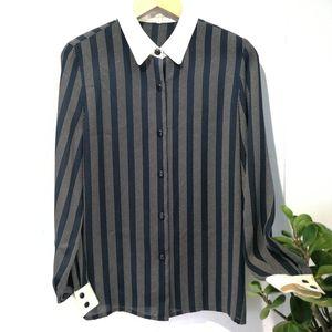 Burberry 博柏利YF04040经典条纹显瘦真丝领垂感衬衫