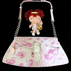 Dior 迪奥限量款粉白老花扇形单肩包