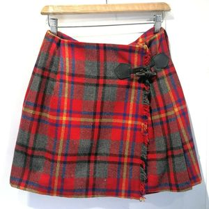 Burberry 博柏利YF04034青春红经典格纹羊毛半裙