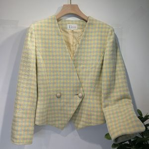 Dior 迪奥YF04056浅米绿高级色修身羊毛短款上衣外套