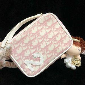 Dior 迪奥限量款粉白老花多功能小手包