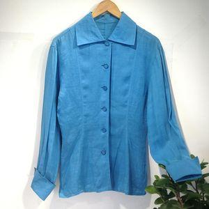 Dior 迪奥YF04049湖蓝亚麻男朋友风个性长袖衬衫上衣外套