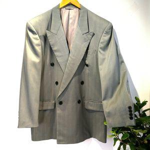 Dior 迪奥YF04065经典灰色质感100%高端羊毛双排扣西服