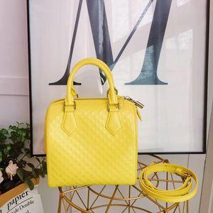 Louis Vuitton 路易·威登柠檬黄棋格波士顿手提包
