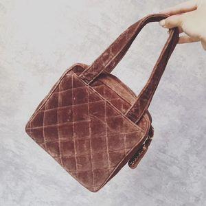 CHANEL 香奈儿vintage棕色丝绒手提包