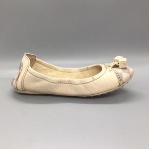 Louis Vuitton 路易·威登白色棋盘格女平底鞋