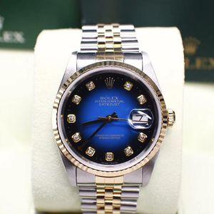Rolex 劳力士日志型16233 间金渐变蓝面大包钻机械腕表