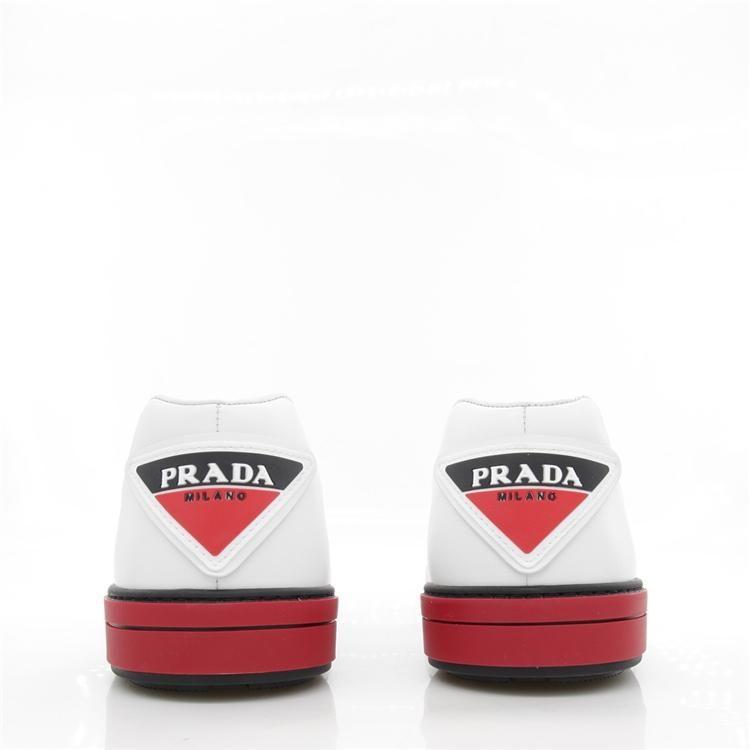 PRADA 普拉达夏季男士休闲低帮鞋系带小白鞋