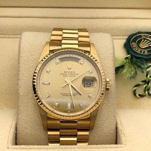 Rolex 劳力士大金鱼18238 36mm表径双历内钻18k黄金全金带自动机械表
