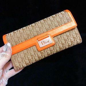 Dior 迪奥限量款老花拼皮两折长款钱包