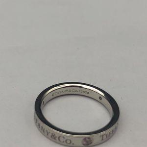 Tiffany & Co. 蒂芙尼铂金三钻戒指