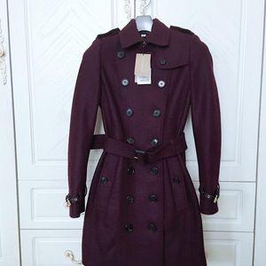 Burberry 博柏利深紫色经典款羊毛大衣