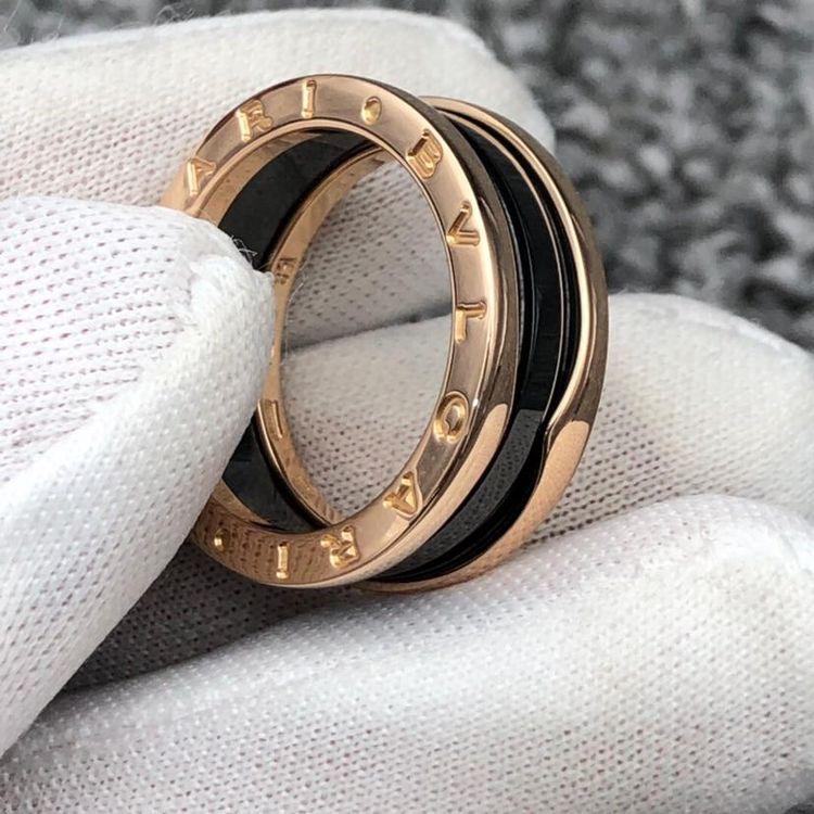 BVLGARI 宝格丽黑陶瓷双环戒指 戒圈58号