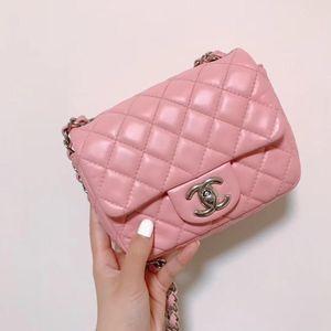 CHANEL 香奈儿粉色全皮链条包