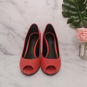 Bottega Veneta 葆蝶家枫叶红编织小羊皮鱼嘴高跟鞋