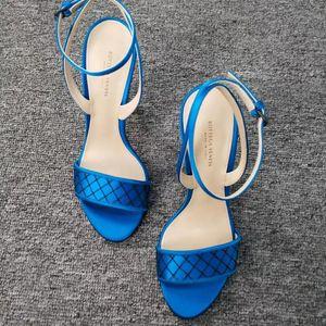 Bottega Veneta 葆蝶家女款孔雀蓝高跟鞋