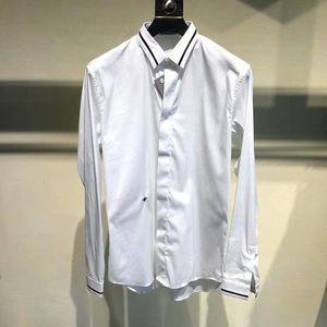 Dior 迪奥19春夏黑色条纹小蜜蜂刺绣男士奢侈品休闲商务衬衫